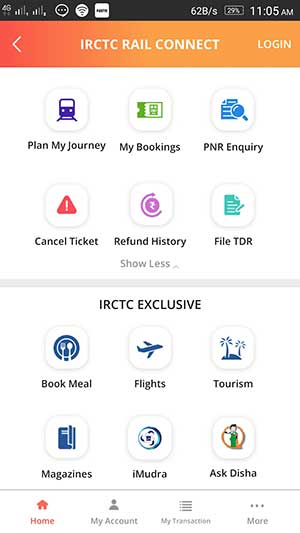 IRCTC Rail Connect official app