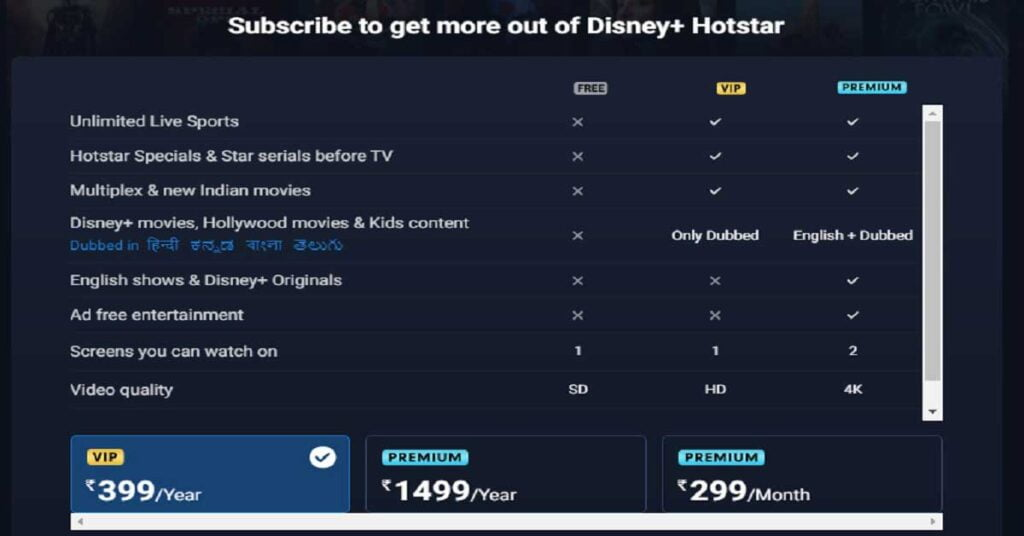 hotstar subscription plans for free